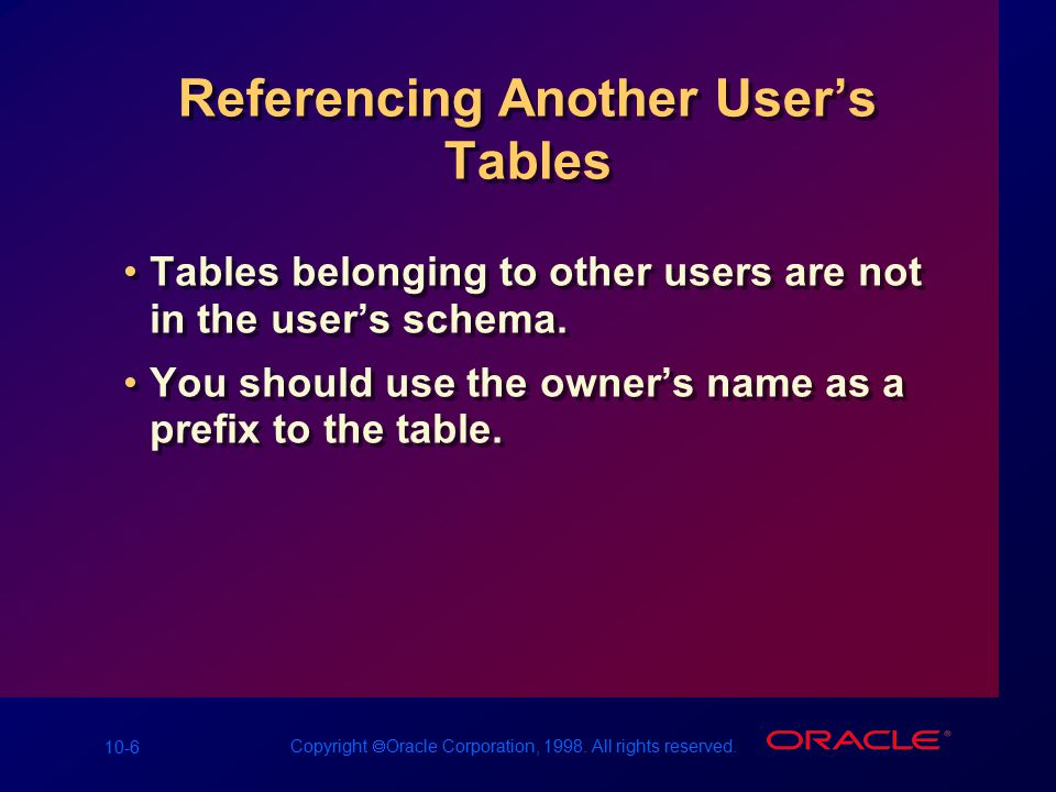 10-6 Copyright  Oracle Corporation, 1998. All rights reserved. Referencing Another User's Tables Tables belonging to other users are not in the user'
