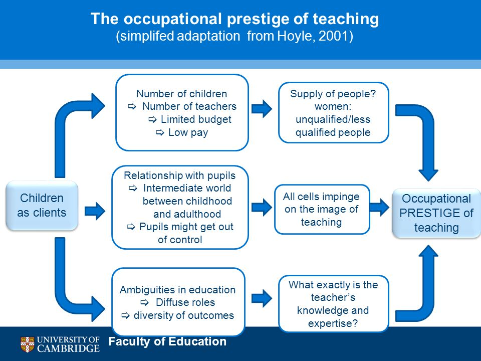 Faculty of Education Number of children  Number of teachers  Limited budget  Low pay Children as clients Relationship with pupils  Intermediate world between childhood and adulthood  Pupils might get out of control Ambiguities in education  Diffuse roles  diversity of outcomes Supply of people.