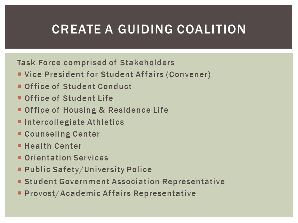 Task Force comprised of Stakeholders  Vice President for Student Affairs (Convener)  Office of Student Conduct  Office of Student Life  Office of Housing & Residence Life  Intercollegiate Athletics  Counseling Center  Health Center  Orientation Services  Public Safety/University Police  Student Government Association Representative  Provost/Academic Affairs Representative CREATE A GUIDING COALITION