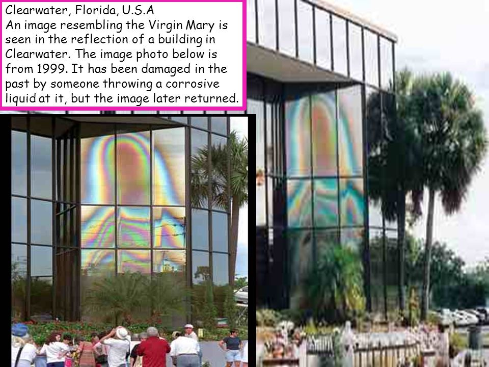 Clearwater, Florida, U.S.A An image resembling the Virgin Mary is seen in the reflection of a building in Clearwater.