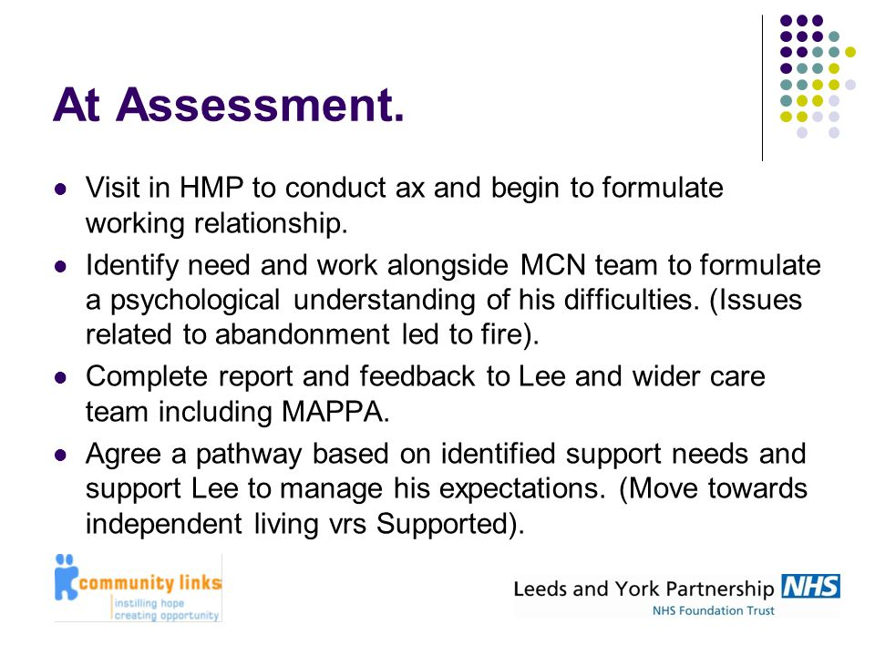 At Assessment. Visit in HMP to conduct ax and begin to formulate working relationship. Identify need and work alongside MCN team to formulate a psycho