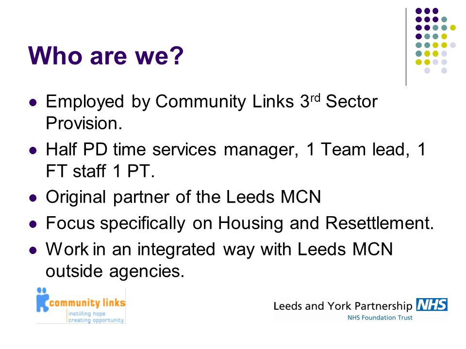 Who are we? Employed by Community Links 3 rd Sector Provision. Half PD time services manager, 1 Team lead, 1 FT staff 1 PT. Original partner of the Le