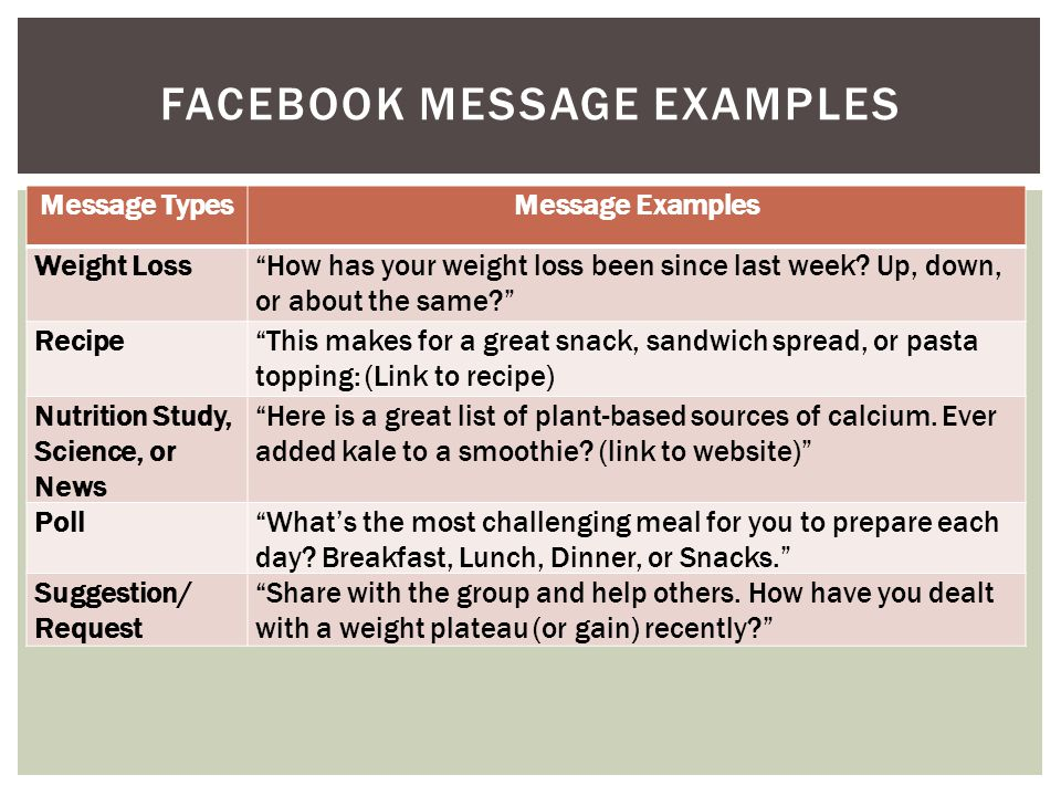 Message TypesMessage Examples Weight Loss How has your weight loss been since last week.
