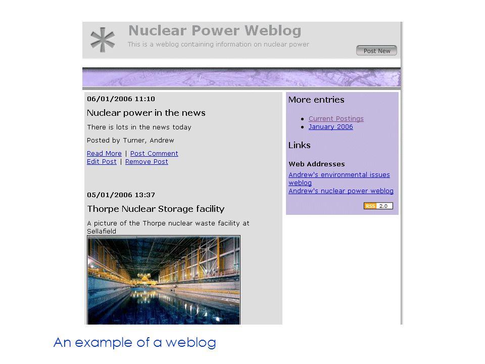An example of a weblog