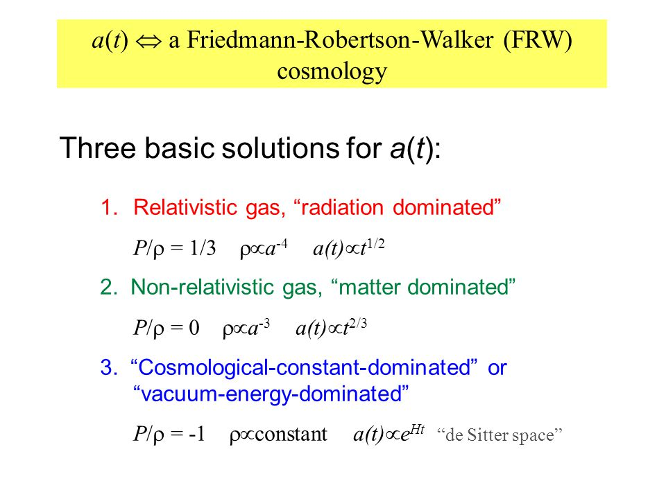"a(t)  a Friedmann-Robertson-Walker (FRW) cosmology Three basic solutions for a(t): 1. Relativistic gas, ""radiation dominated"" P/  = 1/3  a -4 a(t"