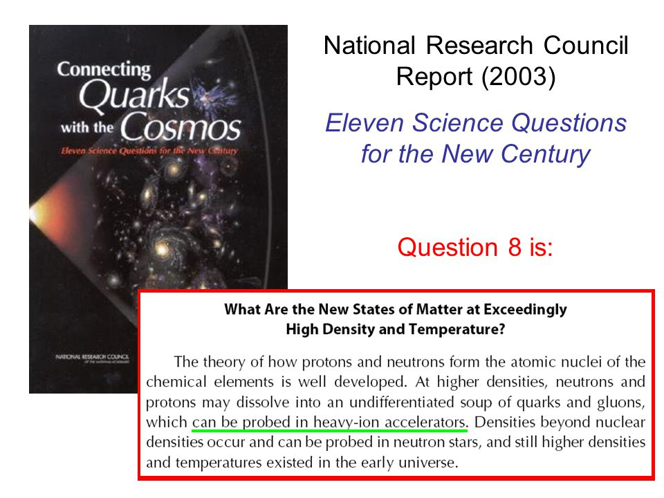 National Research Council Report (2003) Eleven Science Questions for the New Century Question 8 is: