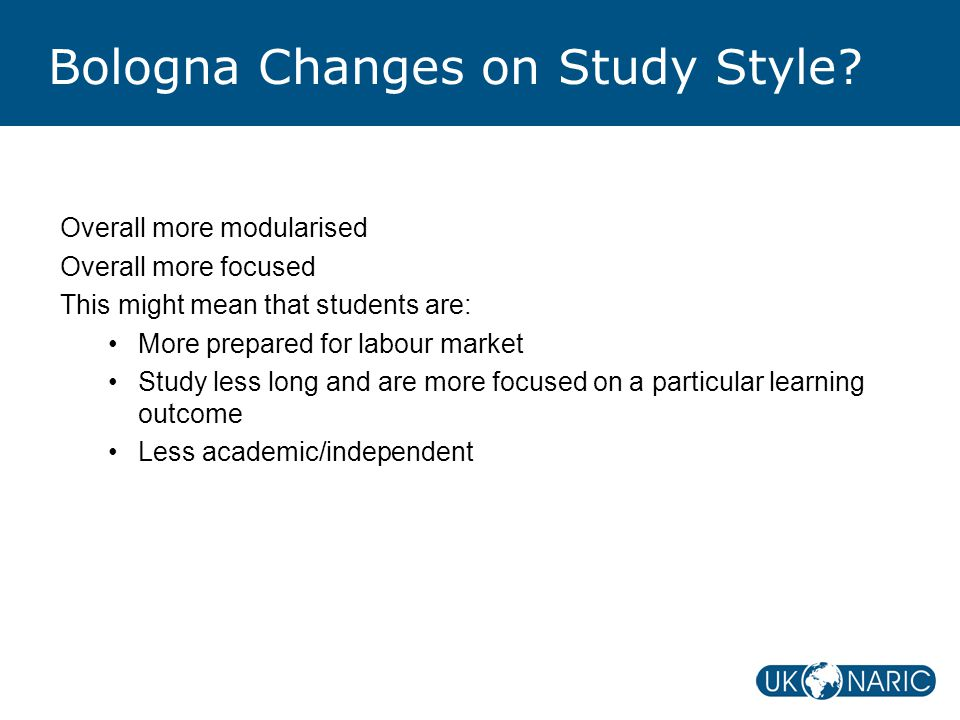 Bologna Changes on Study Style.