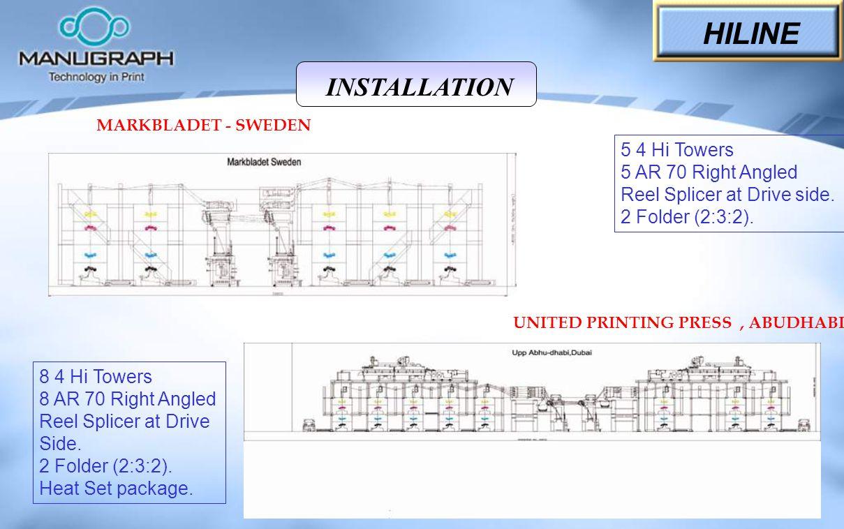 MARKBLADET - SWEDEN UNITED PRINTING PRESS, ABUDHABI 5 4 Hi Towers 5 AR 70 Right Angled Reel Splicer at Drive side. 2 Folder (2:3:2). 8 4 Hi Towers 8 A