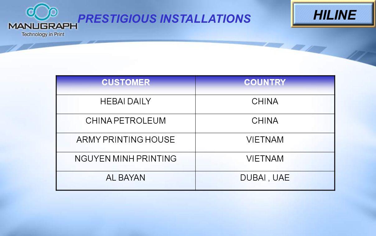 CUSTOMERCOUNTRY HEBAI DAILYCHINA CHINA PETROLEUMCHINA ARMY PRINTING HOUSEVIETNAM NGUYEN MINH PRINTINGVIETNAM AL BAYANDUBAI, UAE PRESTIGIOUS INSTALLATI
