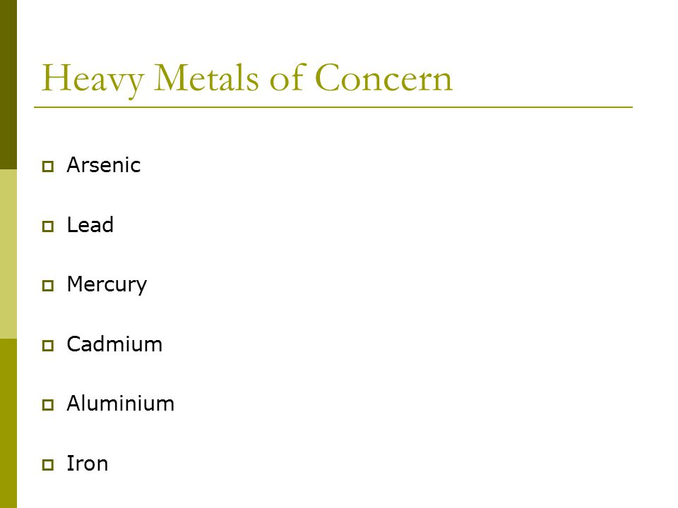 Heavy Metals of Concern  Arsenic  Lead  Mercury  Cadmium  Aluminium  Iron