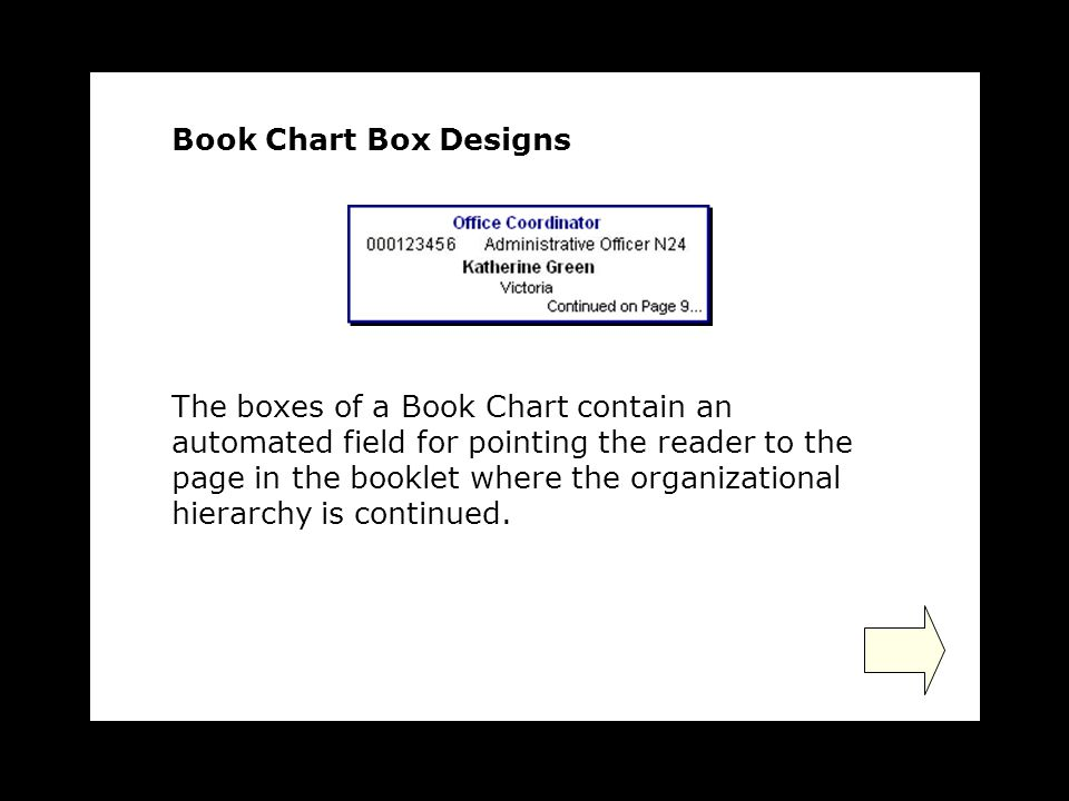 The boxes of a Book Chart contain an automated field for pointing the reader to the page in the booklet where the organizational hierarchy is continued.