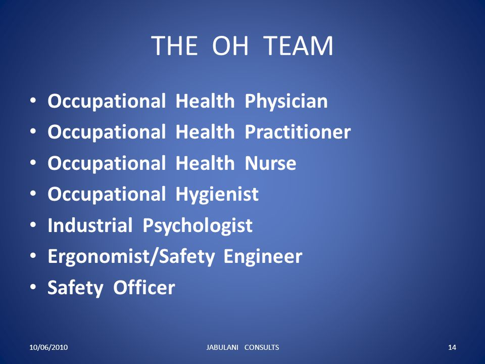 THE OH TEAM Occupational Health Physician Occupational Health Practitioner Occupational Health Nurse Occupational Hygienist Industrial Psychologist Er