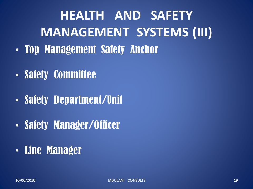 HEALTH AND SAFETY MANAGEMENT SYSTEMS (III) Top Management Safety Anchor Safety Committee Safety Department/Unit Safety Manager/Officer Line Manager 10