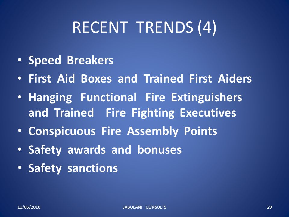 RECENT TRENDS (4) Speed Breakers First Aid Boxes and Trained First Aiders Hanging Functional Fire Extinguishers and Trained Fire Fighting Executives C