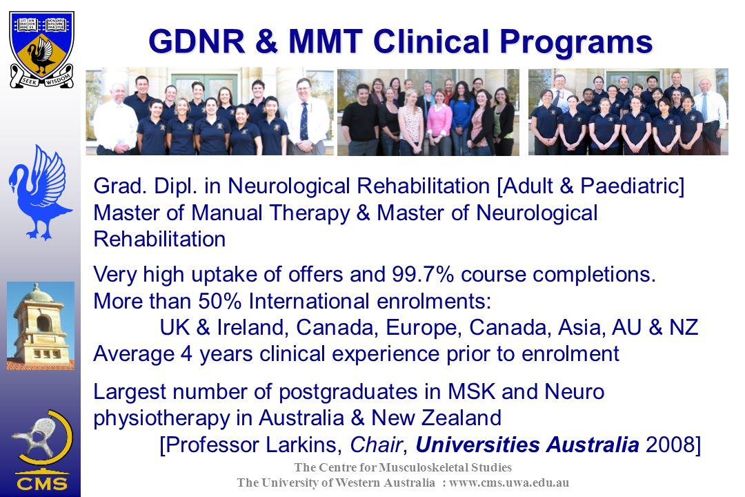 The Centre for Musculoskeletal Studies The University of Western Australia : www.cms.uwa.edu.au GDNR & MMT Clinical Programs Grad.