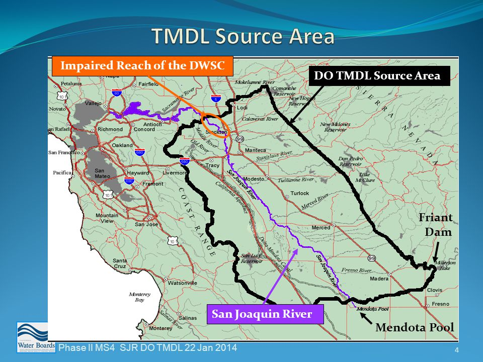  TMDL Studies - 3 Contributing Factors  Channel Geometry  Flow through the Channel  Upstream Oxygen Demanding Substances  City of Stockton WWTP discharges  Algae and nutrients from upstream watershed  Other upstream point sources (includes NPDES & Storm Water) Phase II MS4 SJR DO TMDL 22 Jan 2014 5