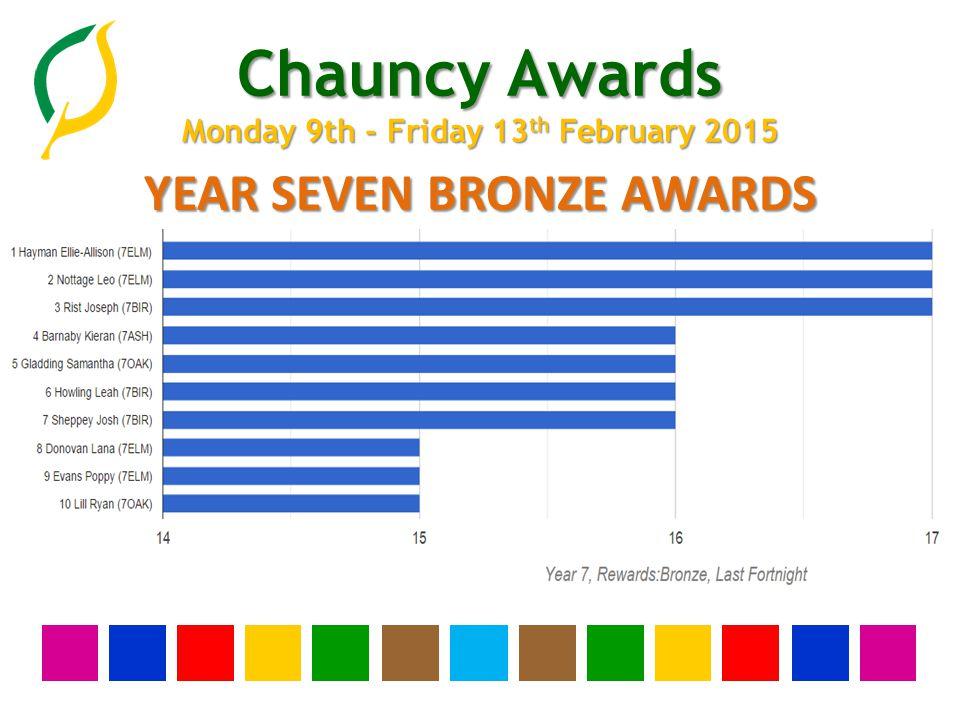 Chauncy Awards Monday 9th - Friday 13 th February 2015 YEAR SEVEN BRONZE AWARDS