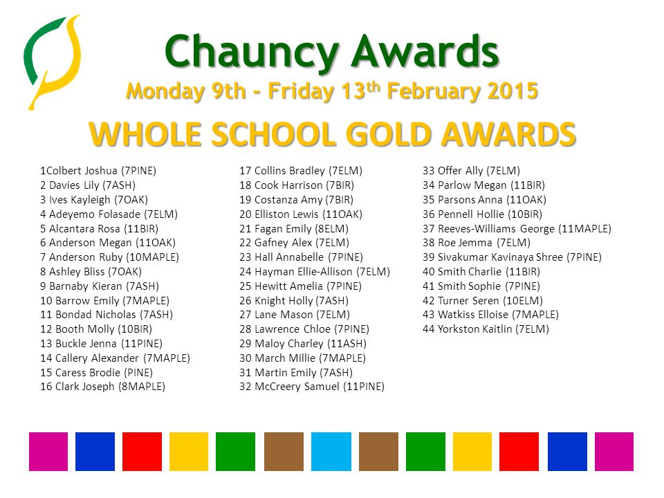 Chauncy Awards Monday 9th - Friday 13 th February 2015 YEAR THIRTEEN SILVER AWARDS None this week