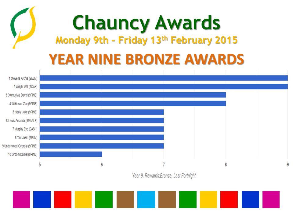 Chauncy Awards Monday 9th - Friday 13 th February 2015 YEAR NINE BRONZE AWARDS