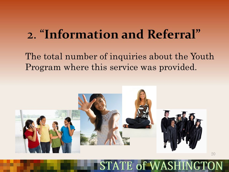 """2. """"Information and Referral"""" 20 The total number of inquiries about the Youth Program where this service was provided."""