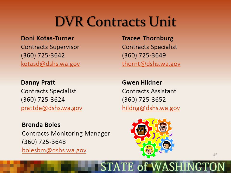 DVR Contracts Unit Doni Kotas-Turner Contracts Supervisor (360) 725-3642 kotasd@dshs.wa.gov Tracee Thornburg Contracts Specialist (360) 725-3649 thornt@dshs.wa.gov Danny Pratt Contracts Specialist (360) 725-3624 prattde@dshs.wa.gov Gwen Hildner Contracts Assistant (360) 725-3652 hildng@dshs.wa.gov 42 Brenda Boles Contracts Monitoring Manager (360) 725-3648 bolesbm@dshs.wa.gov