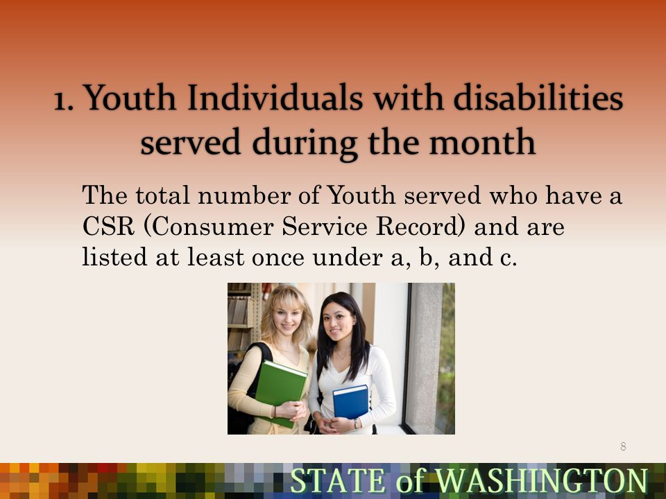 1. Youth Individuals with disabilities served during the month The total number of Youth served who have a CSR (Consumer Service Record) and are liste