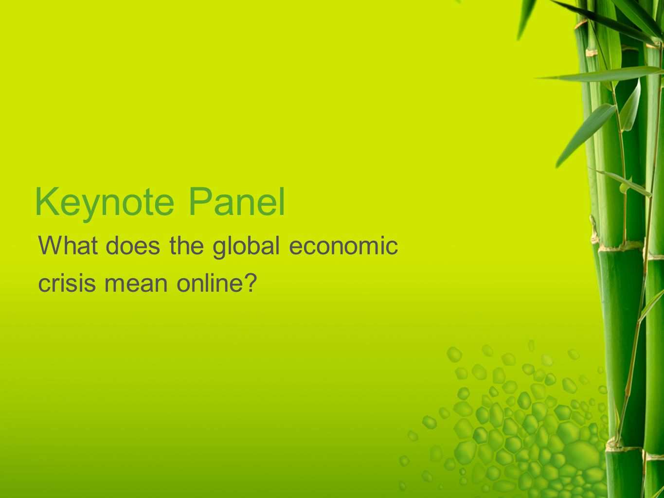 Keynote Panel What does the global economic crisis mean online