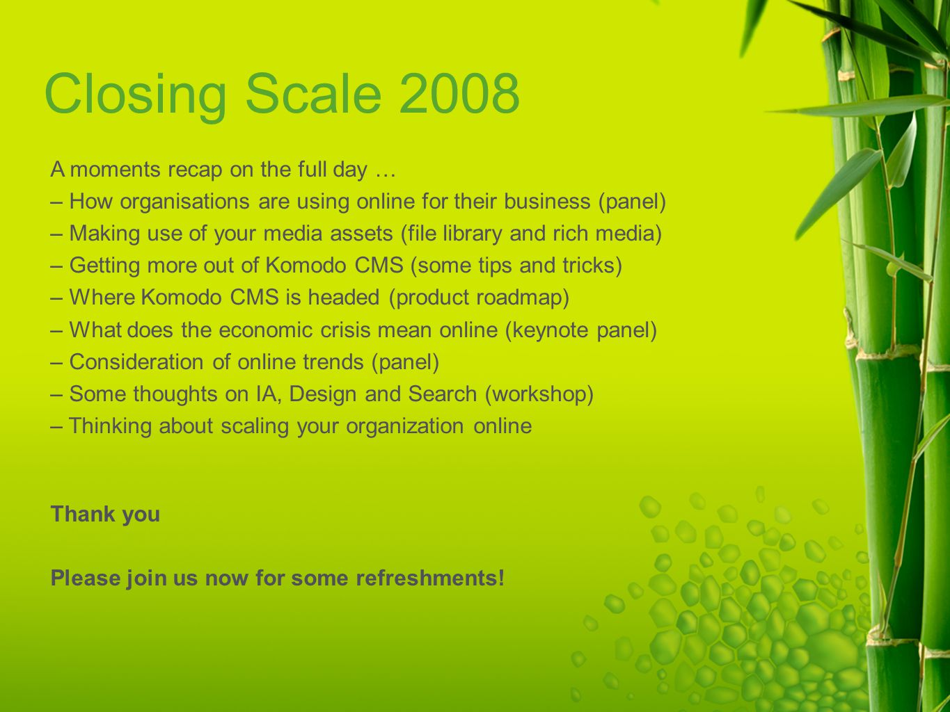 Closing Scale 2008 A moments recap on the full day … – How organisations are using online for their business (panel) – Making use of your media assets