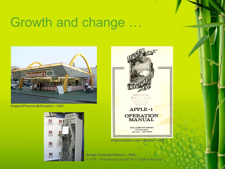 Growth and change … Original Phoenix McDonald's – 1953 Original Apple Logo + Manual – 1976 Google 'Corkboard' Server – 1999 (1 of 30 – Total storage circa 95TB on 22GB hard drives)
