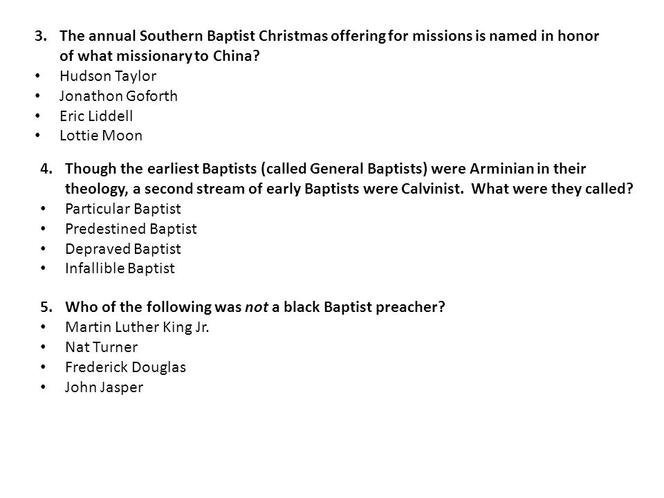 3.The annual Southern Baptist Christmas offering for missions is named in honor of what missionary to China.