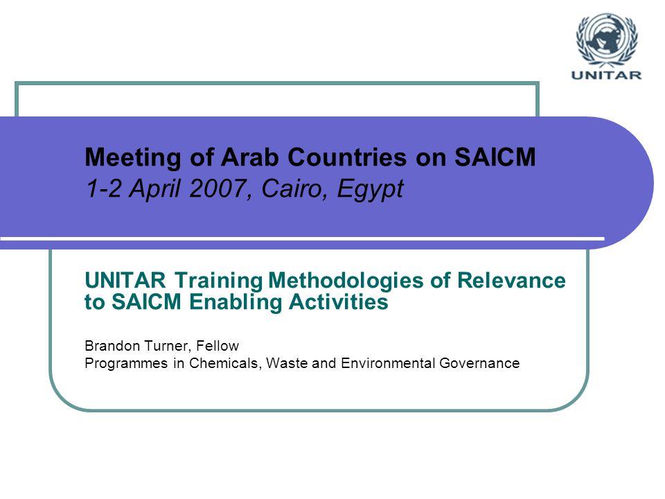 Meeting of Arab Countries on SAICM 1-2 April 2007, Cairo, Egypt UNITAR Training Methodologies of Relevance to SAICM Enabling Activities Brandon Turner, Fellow Programmes in Chemicals, Waste and Environmental Governance