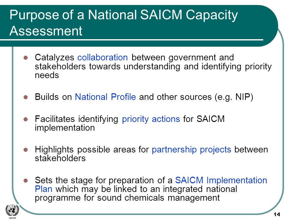 Purpose of a National SAICM Capacity Assessment Catalyzes collaboration between government and stakeholders towards understanding and identifying priority needs Builds on National Profile and other sources (e.g.