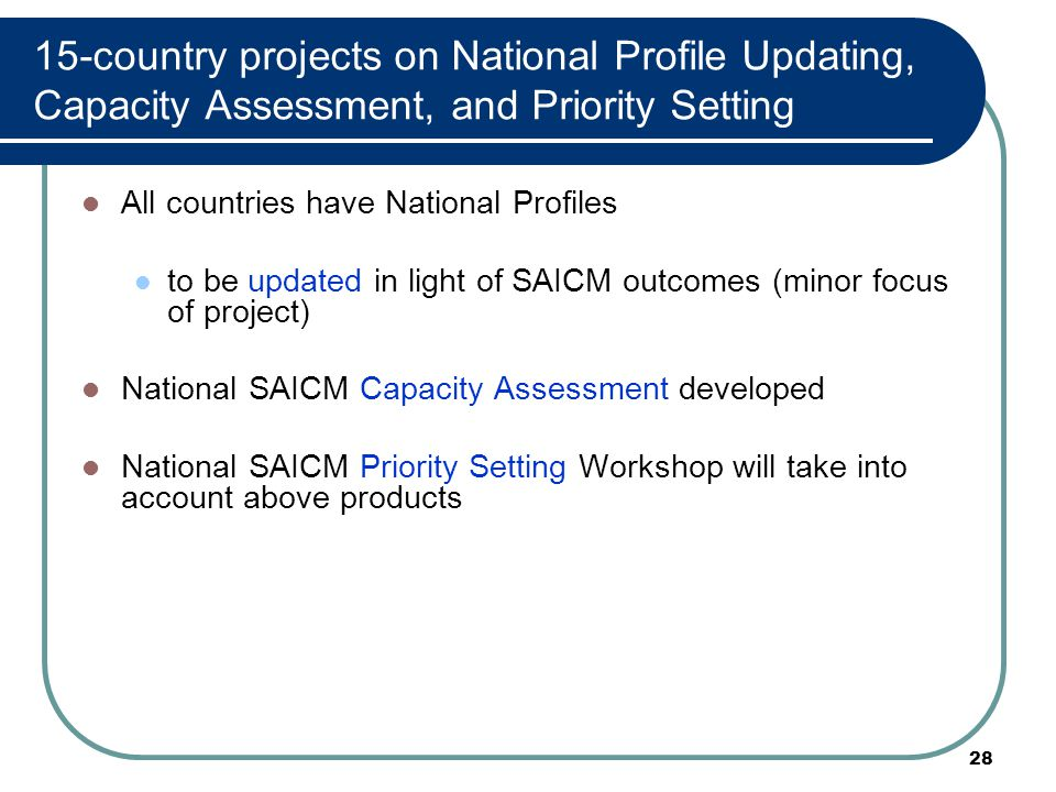 28 15-country projects on National Profile Updating, Capacity Assessment, and Priority Setting All countries have National Profiles to be updated in light of SAICM outcomes (minor focus of project) National SAICM Capacity Assessment developed National SAICM Priority Setting Workshop will take into account above products