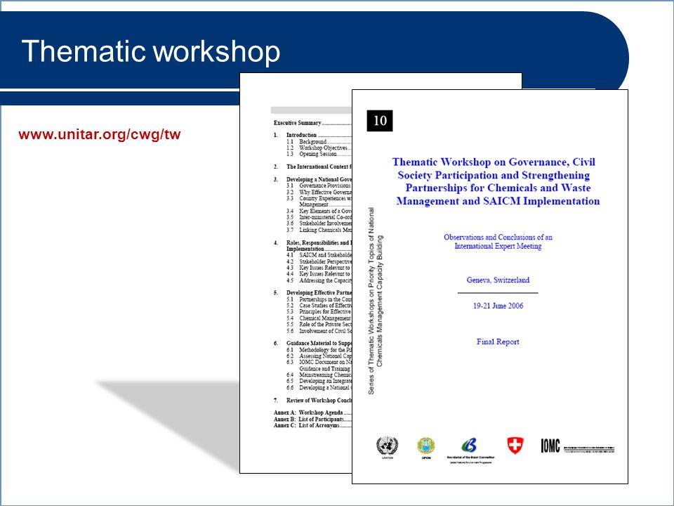 www.unitar.org/cwg/tw Thematic workshop