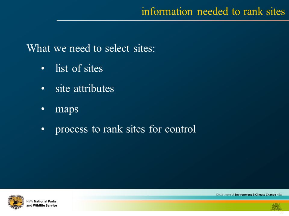 30 information needed to rank sites What we need to select sites: list of sites site attributes maps process to rank sites for control
