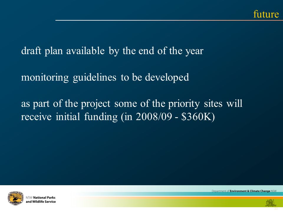 33 draft plan available by the end of the year monitoring guidelines to be developed as part of the project some of the priority sites will receive initial funding (in 2008/09 - $360K) future