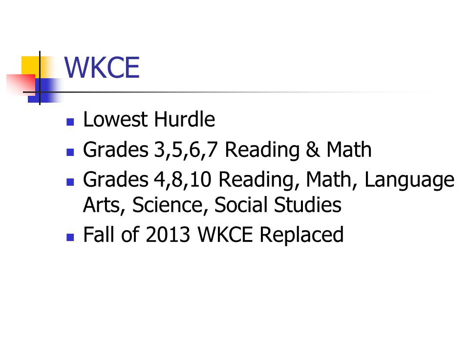 WKCE Lowest Hurdle Grades 3,5,6,7 Reading & Math Grades 4,8,10 Reading, Math, Language Arts, Science, Social Studies Fall of 2013 WKCE Replaced