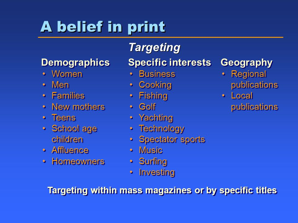 A belief in print Targeting Demographics Women Men Families New mothers Teens School age children Affluence Homeowners Demographics Women Men Families New mothers Teens School age children Affluence Homeowners Specific interests Business Cooking Fishing Golf Yachting Technology Spectator sports Music Surfing Investing Specific interests Business Cooking Fishing Golf Yachting Technology Spectator sports Music Surfing Investing Geography Regional publications Local publications Geography Regional publications Local publications Targeting within mass magazines or by specific titles