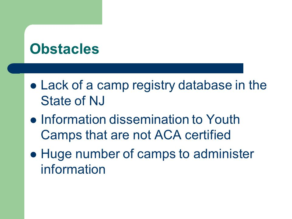 Obstacles Lack of a camp registry database in the State of NJ Information dissemination to Youth Camps that are not ACA certified Huge number of camps to administer information