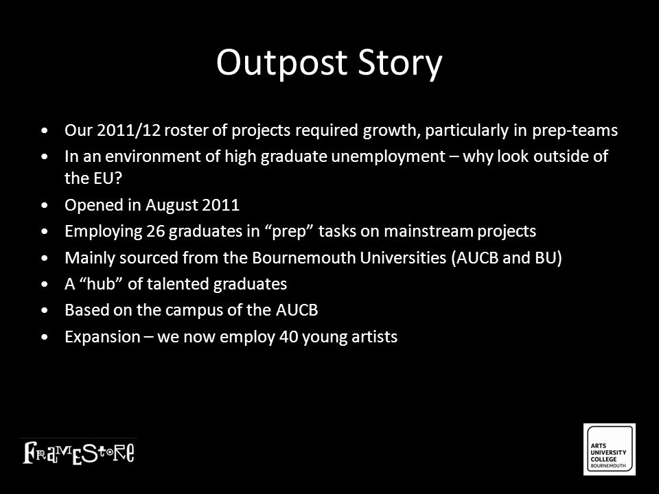 Outpost Story Our 2011/12 roster of projects required growth, particularly in prep-teams In an environment of high graduate unemployment – why look ou