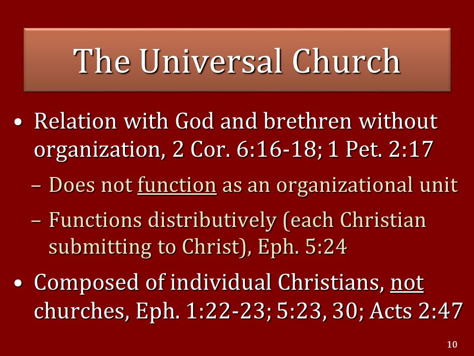 Relation with God and brethren without organization, 2 Cor.