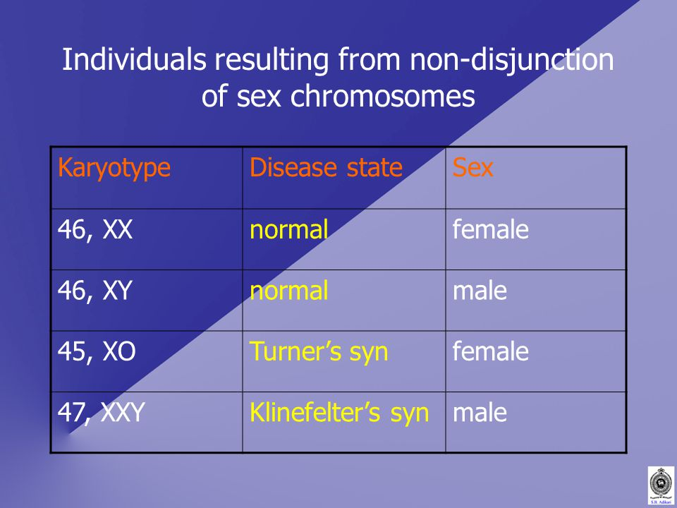Individuals resulting from non-disjunction of sex chromosomes KaryotypeDisease stateSex 46, XXnormalfemale 46, XYnormalmale 45, XOTurner's synfemale 47, XXYKlinefelter's synmale