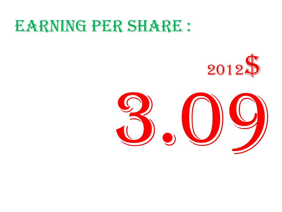 Earning per share : 3.09 2012 $