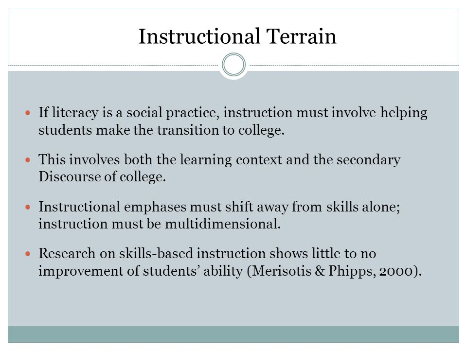 Instructional Terrain If literacy is a social practice, instruction must involve helping students make the transition to college.