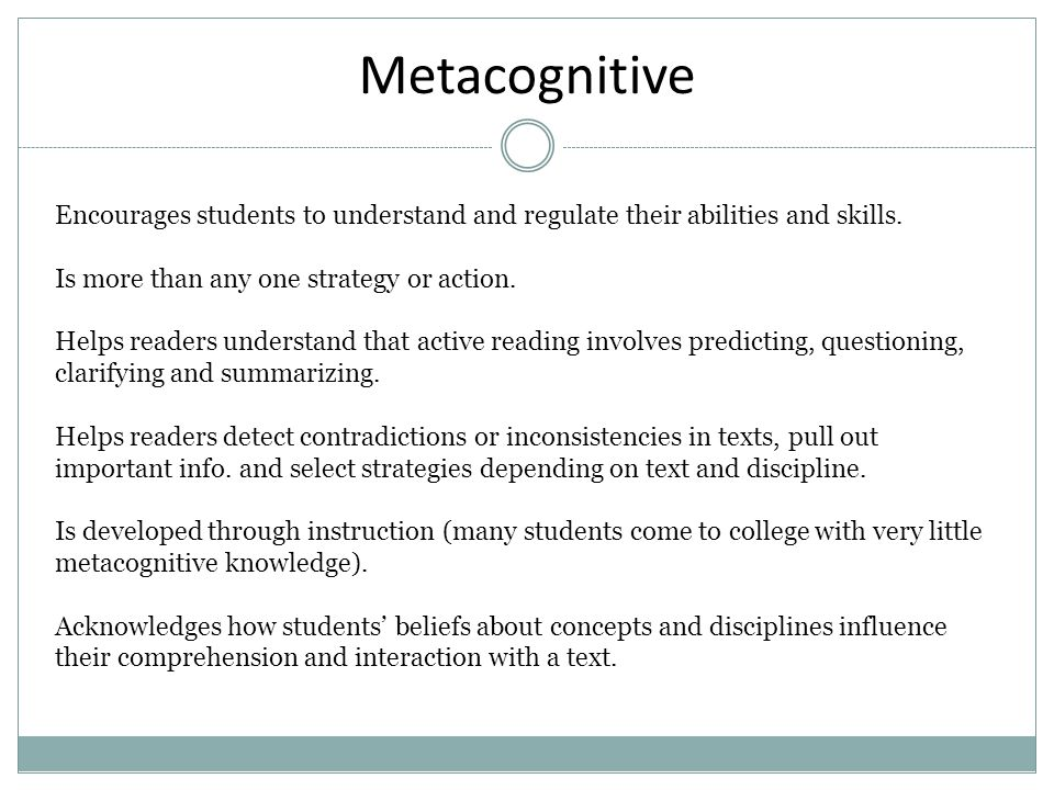 Affective Is tied to identity, as students understand themselves as learners who can negotiate the literacy demands of college that involve more than knowledge of specific, isolated skills.