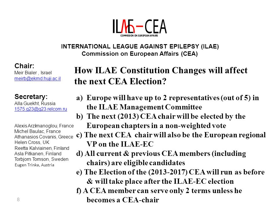 8 INTERNATIONAL LEAGUE AGAINST EPILEPSY (ILAE) Commission on European Affairs (CEA) Chair: Meir Bialer, Israel meirb@ekmd.huji.ac.il Secretary: Alla Guekht, Russia 1575.g23@g23.relcom.ru Alexis Arzimanoglou, France Michel Baulac, France Athanasios Covanis, Greece Helen Cross, UK Reetta Kalviainen, Finland Asla Pitkanen, Finland Torbjorn Tomson, Sweden Eugen Trinka, Austria How ILAE Constitution Changes will affect the next CEA Election.