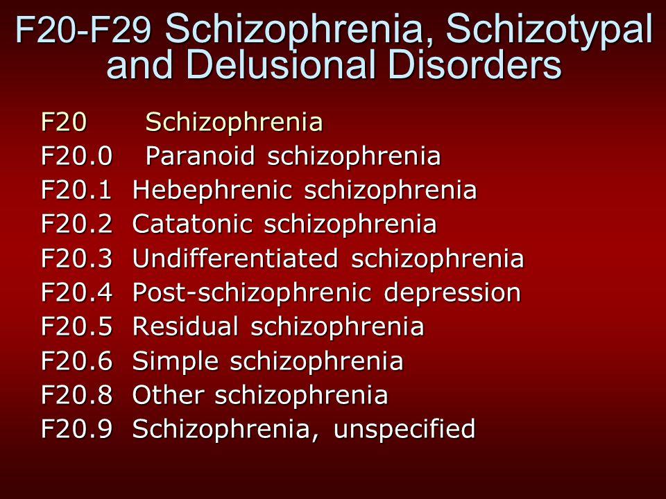F20-F29 Schizophrenia, Schizotypal and Delusional Disorders F20 Schizophrenia F20.0 Paranoid schizophrenia F20.1 Hebephrenic schizophrenia F20.2 Catat