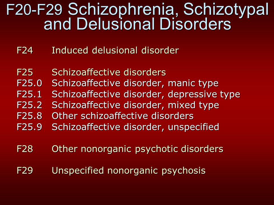 F20-F29 Schizophrenia, Schizotypal and Delusional Disorders F24 Induced delusional disorder F25 Schizoaffective disorders F25.0 Schizoaffective disord