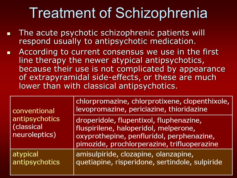 Treatment of Schizophrenia The acute psychotic schizophrenic patients will respond usually to antipsychotic medication.