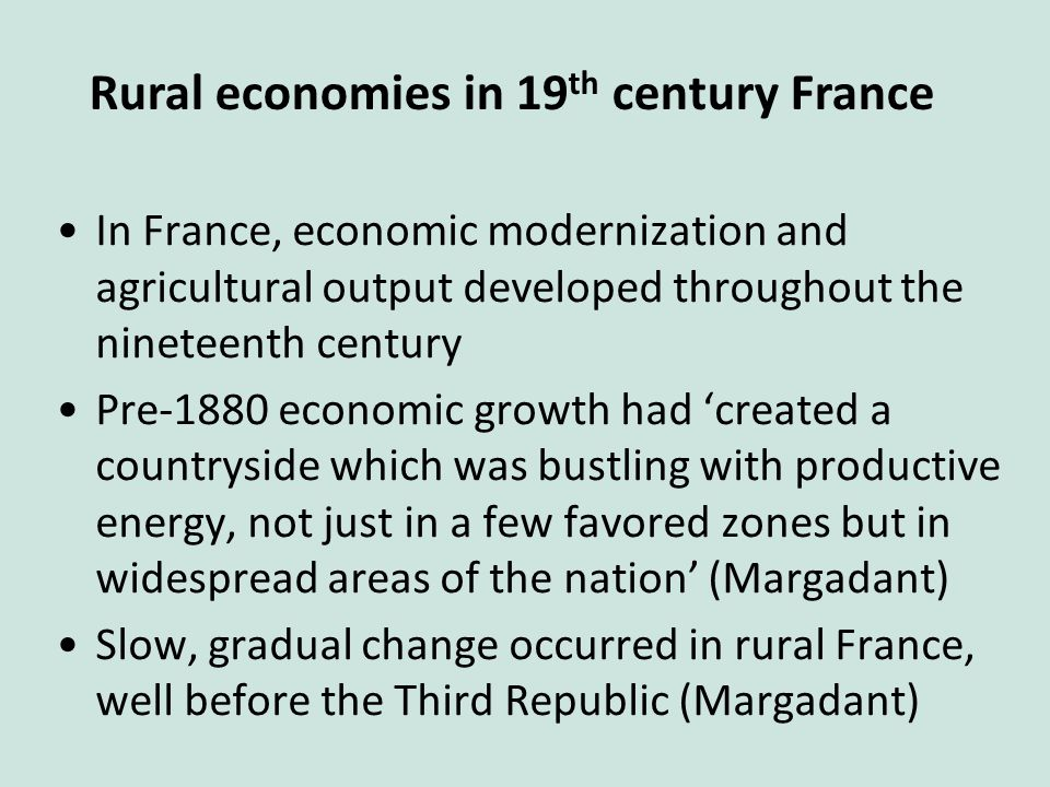 In France, economic modernization and agricultural output developed throughout the nineteenth century Pre-1880 economic growth had 'created a countryside which was bustling with productive energy, not just in a few favored zones but in widespread areas of the nation' (Margadant) Slow, gradual change occurred in rural France, well before the Third Republic (Margadant) Rural economies in 19 th century France